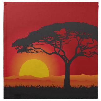 Briliiant Red Sunset Under The Bonsai Tree Cloth Napkin