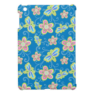 Brillant flowers, dragonflies and swirls on blue cover for the iPad mini