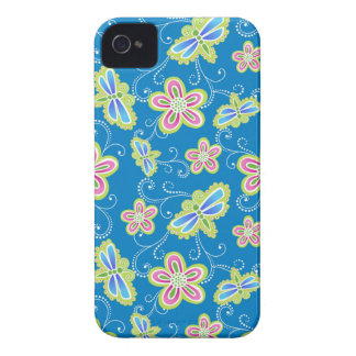 Brillant flowers, dragonflies and swirls on blue iPhone 4 covers