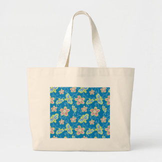 Brillant flowers, dragonflies and swirls on blue large tote bag