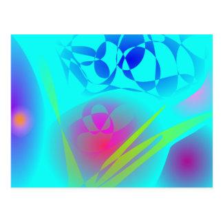 Brilliant Aqua Blue Abstract Pattern Postcard
