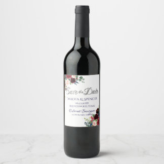 Brilliant Bloom | Rustic Boho Chic Save the Date Wine Label
