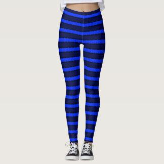 Brilliant Blue & Black Stripes Leggings