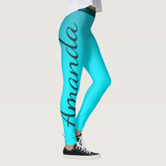 Brilliant Blue Custom Name Leggings