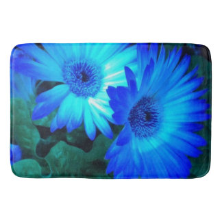 Brilliant Blue Daisies Bath Mat
