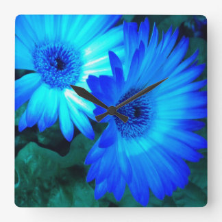 Brilliant Blue Daisies Wall Clock