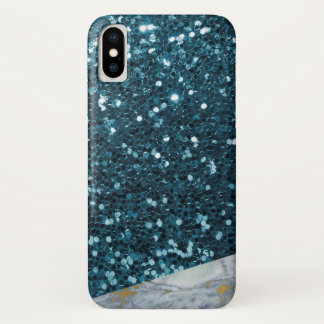 Brilliant Blue Glitter & Blue Gold Veined Marble iPhone X Case