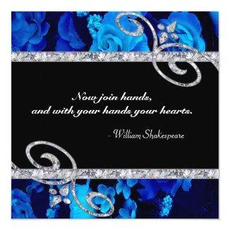 "Brilliant Blue Roses & Diamond Swirls Wedding 5.25"" Square Invitation Card"