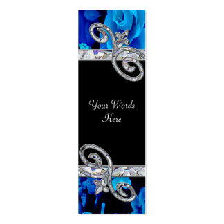 Brilliant Blue Roses & Diamond Swirls Wedding BM Business Card Templates