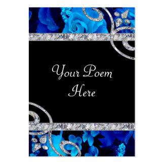 Brilliant Blue Roses & Diamond Swirls Wedding Business Card Template