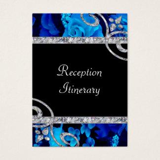 Brilliant Blue Roses & Diamond Swirls Wedding Business Card