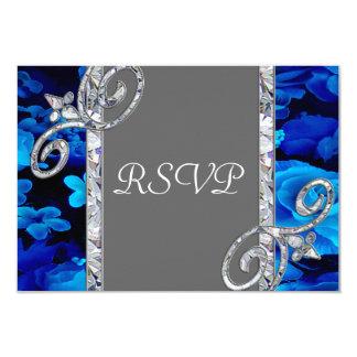 "Brilliant Blue Roses & Diamond Swirls Wedding CST2 3.5"" X 5"" Invitation Card"