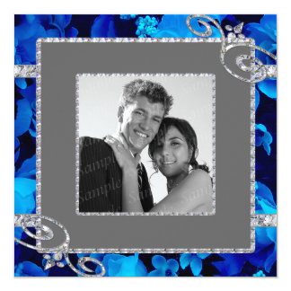 "Brilliant Blue Roses & Diamond Swirls Wedding CST2 5.25"" Square Invitation Card"