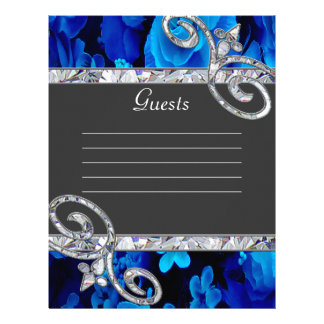 Brilliant Blue Roses & Diamond Swirls Wedding CSTM Letterhead
