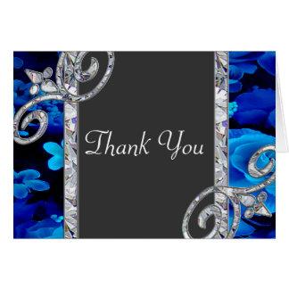 Brilliant Blue Roses & Diamond Swirls Wedding CSTM Note Card