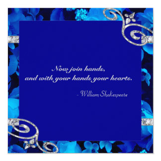 "Brilliant Blue Roses & Diamond Swirls Wedding DBNF 5.25"" Square Invitation Card"