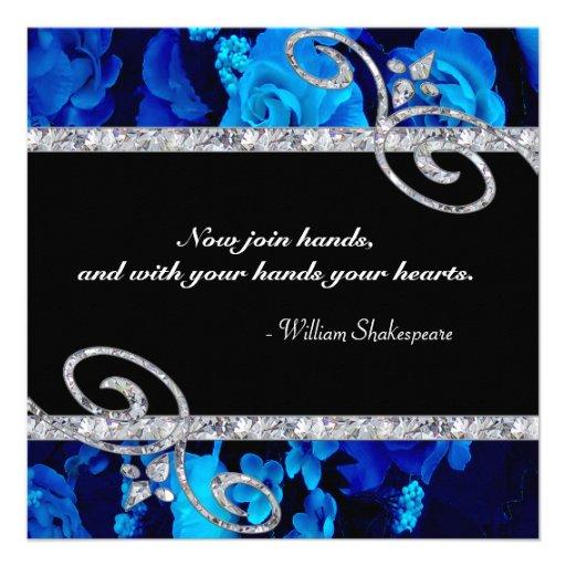 Brilliant Blue Roses & Diamond Swirls Wedding Personalized Announcements