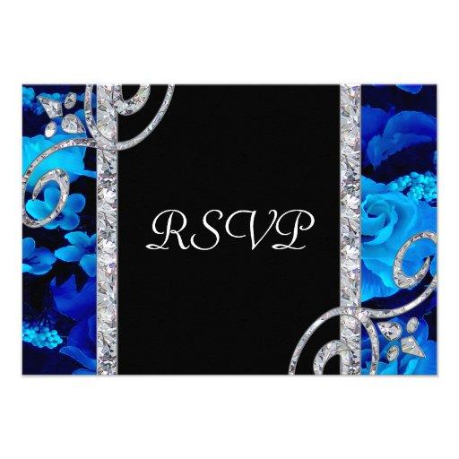 Brilliant Blue Roses & Diamond Swirls Wedding Custom Announcements
