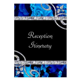 Brilliant Blue Roses & Diamond Swirls Wedding Large Business Card