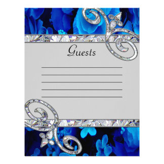 Brilliant Blue Roses & Diamond Swirls Wedding Letterhead