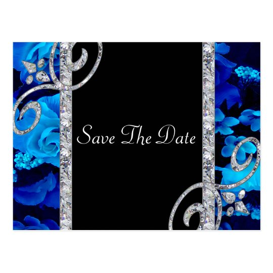 Brilliant Blue Roses & Diamond Swirls Wedding Postcard