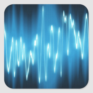 Brilliant Blue Sound Waves on Black Square Sticker