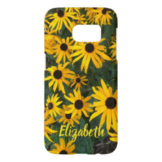Brilliant Brown Eyed Susans and Name Samsung Galaxy S7 Case