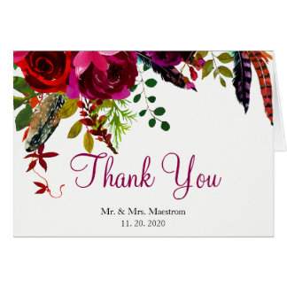 Brilliant Burgundy Bouquet Thank You Wedding Card