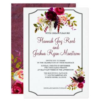 Brilliant Burgundy Dark Reds Floral Wedding Invite