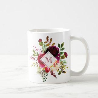 Brilliant Burgundy Floral Bouquet Monogram Coffee Mug