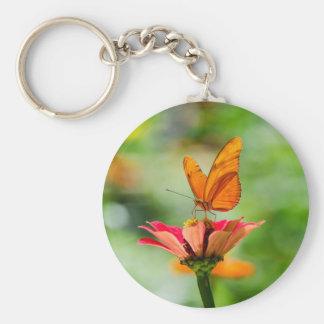 Brilliant Butterfly on Bright Orange Gerber Daisy Basic Round Button Keychain