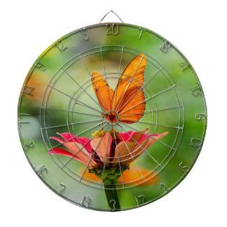 Brilliant Butterfly on Bright Orange Gerber Daisy Dartboard With Darts