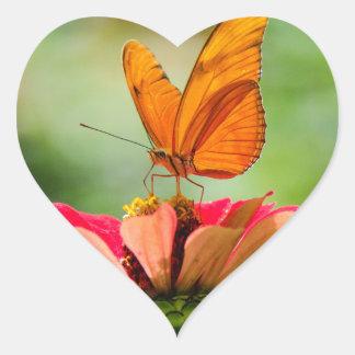 Brilliant Butterfly on Bright Orange Gerber Daisy Heart Sticker