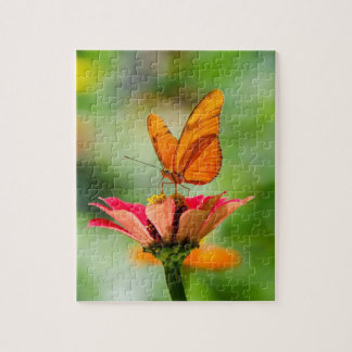 Brilliant Butterfly on Bright Orange Gerber Daisy Jigsaw Puzzle