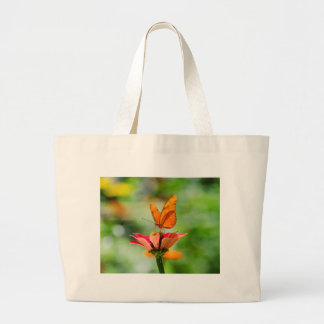 Brilliant Butterfly on Bright Orange Gerber Daisy Large Tote Bag