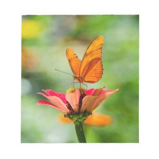 Brilliant Butterfly on Bright Orange Gerber Daisy Notepad