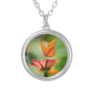 Brilliant Butterfly on Bright Orange Gerber Daisy Silver Plated Necklace