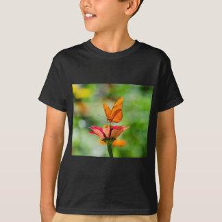 Brilliant Butterfly on Bright Orange Gerber Daisy T-Shirt