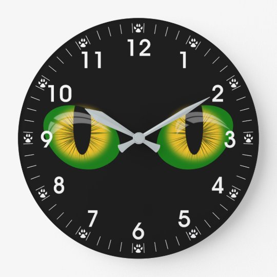 Brilliant Cats Eyes Paw Prints Clocks