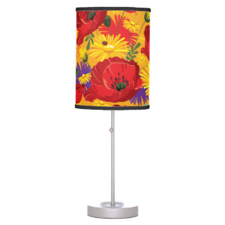 Brilliant Colors Poppies and Daisies Table Lamp