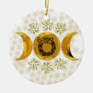 Brilliant Faux Gold Triple Moon & Holly Wreath Round Ceramic Ornament