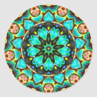 Brilliant Flowery Sea Opal Fractal Classic Round Sticker