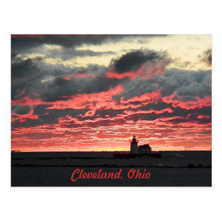 Brilliant Lake Erie Sunset (Lighthouse) Postcard