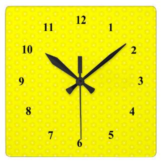 Brilliant Lemon Yellow Sunshine Stars Pattern Clocks