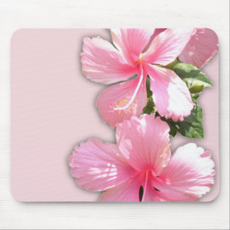 Brilliant Pink Hibiscus Flowers Mouse Pads