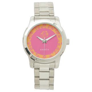 Brilliant Pink & Orange Floral Watches