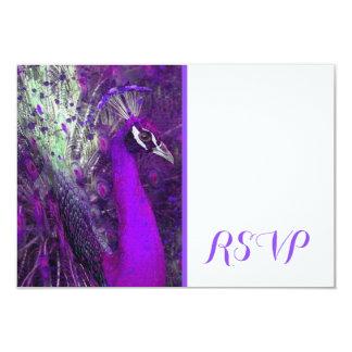 Brilliant Purple Peacock RSVP Card