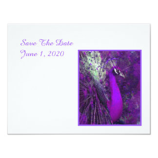 Brilliant Purple Peacock Wedding Save The Date Card
