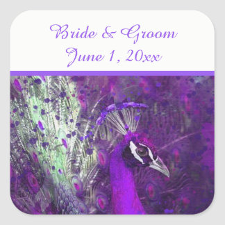 Brilliant Purple Peacock Wedding Stickers