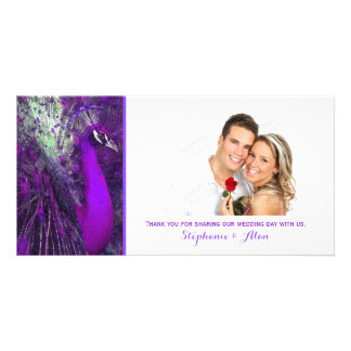 Brilliant Purple Peacock Wedding Thank You Card